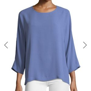 NWT Eileen Fisher Silk Georgette Crepe Top